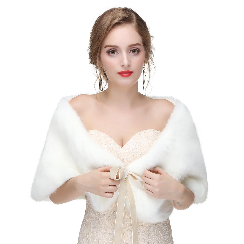 Wowbridal Women's Winter Warm Faux Fur Shawl Coat Jacket Parka Outerwear Tops (Medium, White 2) by WOWBRIDAL (Image #1)