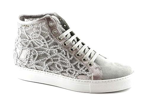 FRAU 40G5 nube zapatos grises mujer zapatillas de deporte cordones alta del bordado: Amazon.es: Zapatos y complementos
