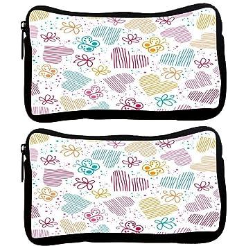 Snoogg Pack De 2 Multicolor Tela Funda De Corazones Y Mariposas estudiante pluma lápiz caso bolsa de cosméticos bolsa de monedero: Amazon.es: Oficina y ...