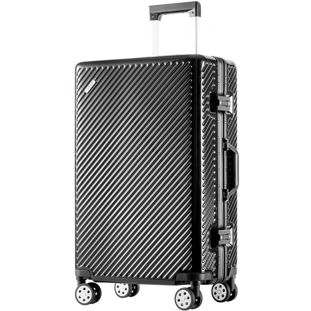 TANOBI スーツケース アルミフレーム TSAロック搭載 斜め縞模様 トラベルバッグ 1年保証 B078RHH25R L|ブラック ブラック L