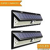 [2 Pezzi] Mpow Luce Solare 102 LED, Luci Giardino 2500LM, 3 Modalità di Illuminazione Opzionale, Grande Pannello Solare, Lampade Solari Impermeabile IP65, per Giardino,Vialetto, Cantiere,Grage, Parete