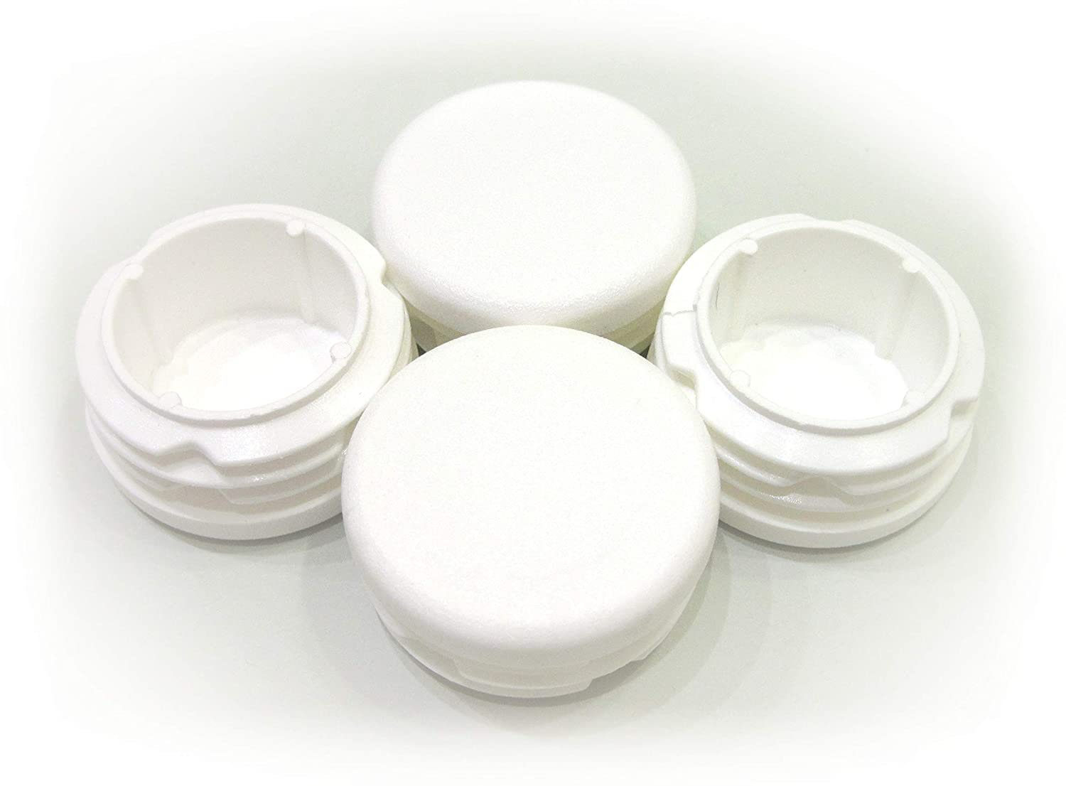 4pcs Pack: 1 3/8 Inch (35mm) Round White Plastic End Cap (for Hole Size from 1 5/32 to 1 5/16, Including 1 1/4 inches, 29-33 mm), Furniture Finishing Plug