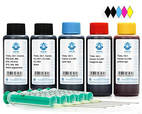 500 ml de recarga de tinta para impresora Canon PGI-550, CLI-551 cartuchos de impresora, para Pixma IP 7200 Series, IP 7250, IP 8700 Series, IP 8750, ...