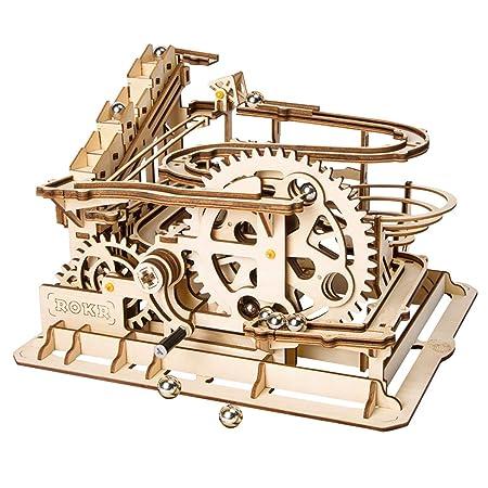 ROBOTIME Lasergeschnittenes Holzpuzzle   Bausatz Bausatz   3D Puzzle Spiel (Wasserrad Coaster)
