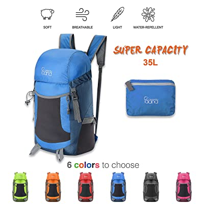 IDAND Durable 35L Ultra Lightweight Packable Backpack Water Resistant Daypack for Women Men Backpack Handy Foldable Bag for Camping, Gym, Travel, Hiking