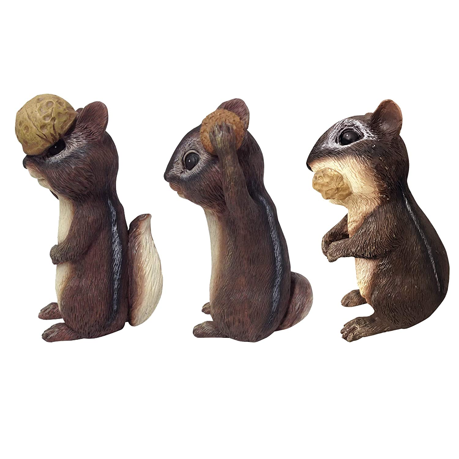 Multicolor Design House 333047 Three Piece 6 Chipmunk Figurine Assortment