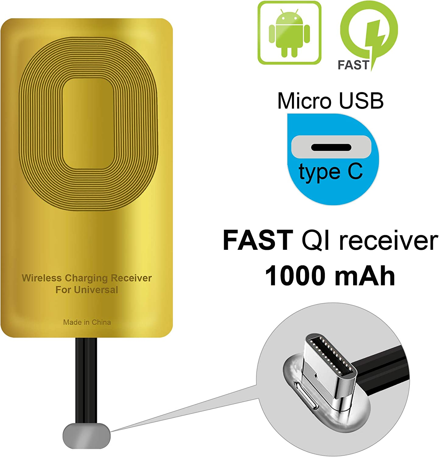 QI Receiver Type C for Google Pixel 2XL-XL-LG V20- LG G5- Motorola G6- G6 Plus- HTC 10- Samsung Galaxy A5(2017)-A7(2017)- Qi Wireless Receiver-QI Receiver-Type C Wireless Charging Receiver