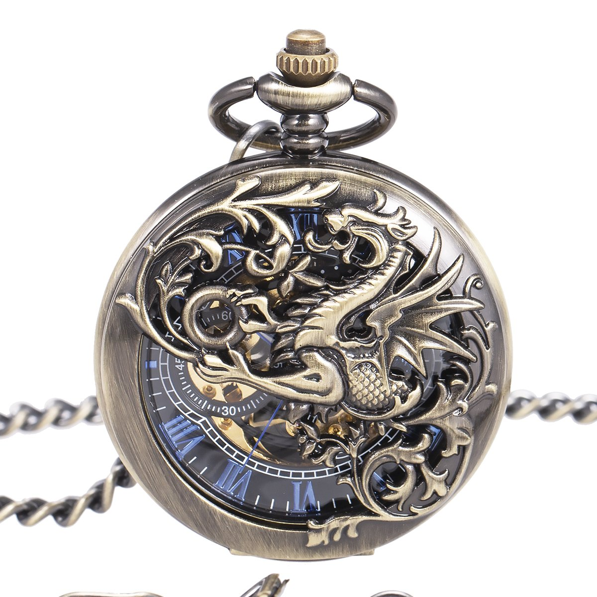 Mens Antique Brone Dragon Skeleton Mechanical Pocket Watch with Chain -Double Copper Dream Dragon Hollow Double Hunter ManChDa Blue Roman Numerals Black Dial (3.Bronze Dragon Hollow Double Hunter)