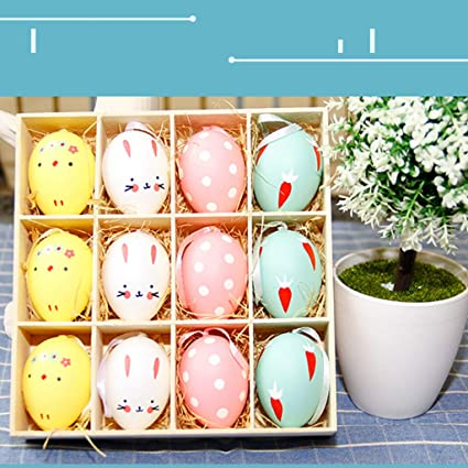 Jiechu Easter Present12PC Colorful Baby Kid Drawing Painting Eggs Color Egg Birthday Gift