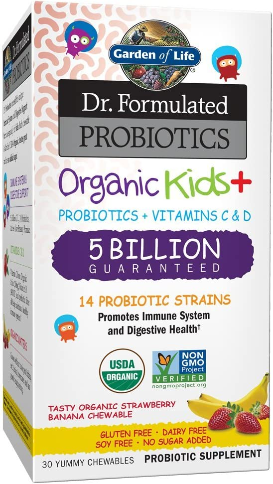 Garden of Life Dr. Formulated Probiotics Organic Kids+ plus Vitamin C & D - Strawberry Banana - Gluten Dairy & Soy Free Immune & Digestive Health Supplement, No Added Sugar, 30 Chewables (Ships Cold)