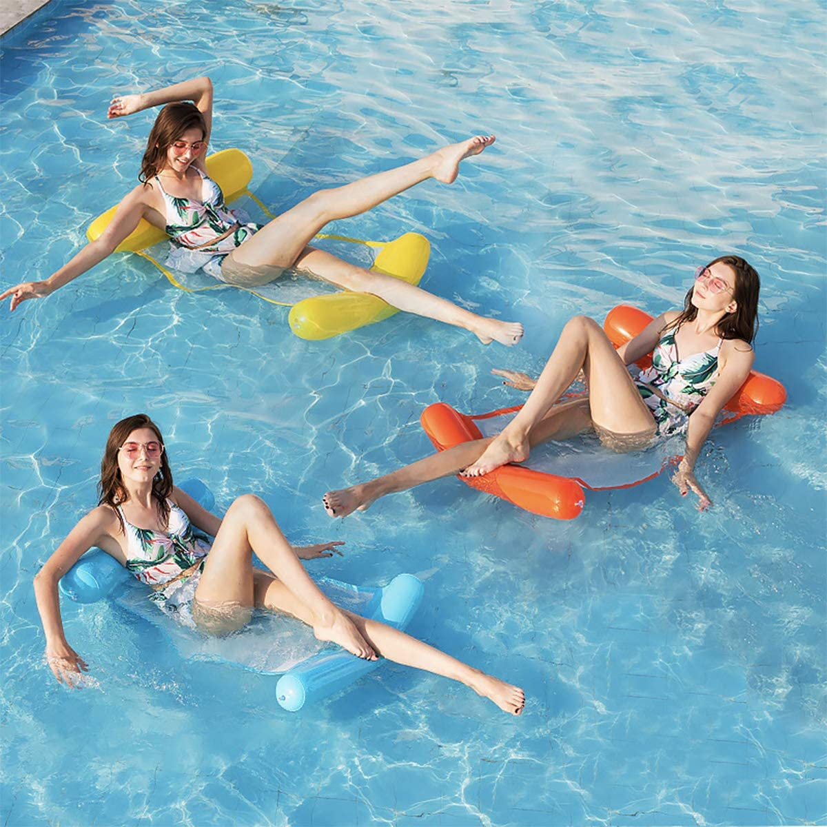 Fachuai Pool Floats Portable Swimming Hammock Float Inflatable Water Pillow Yellow