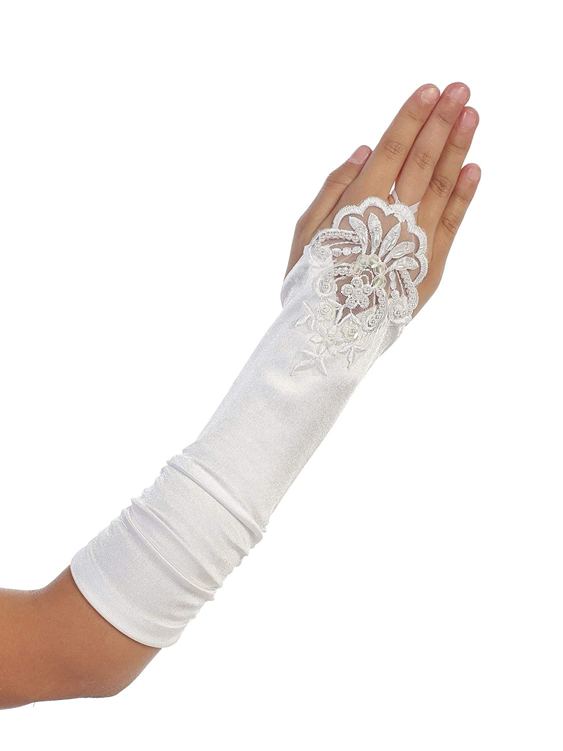 Girls White Floral Embroidery Fingerless Long Special Occasion Gloves 4-14