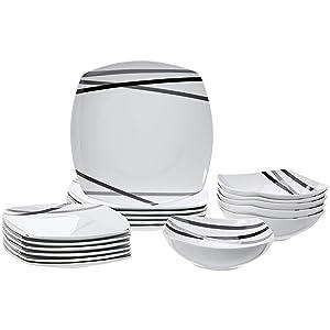 AmazonBasics 18-Piece Dinnerware Set - Modern Beams, Service for 6