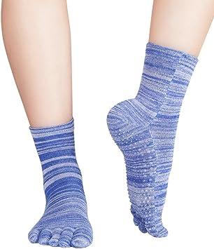 2 Paar Kurze Bunte Damen Baumwoll Zehensocken Meliert Yoga Fitness-Socken