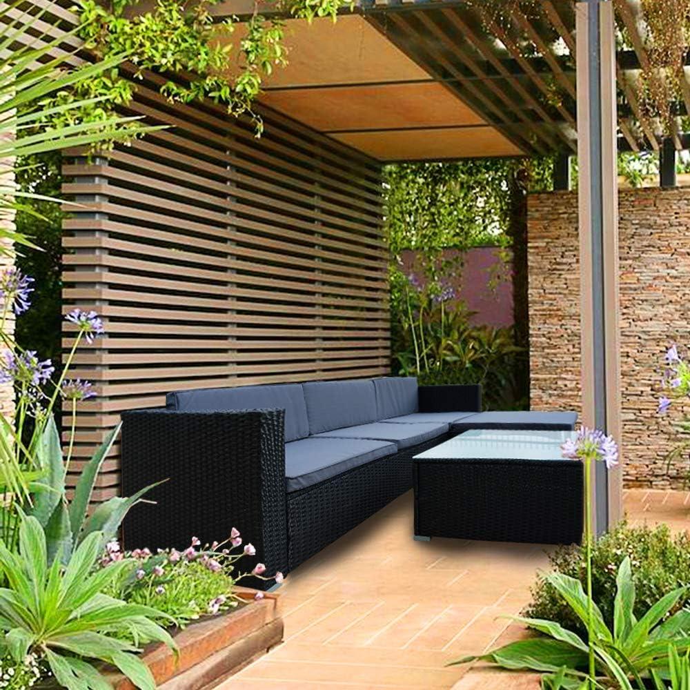UISEBRT - Juego de Muebles de jardín (ratán sintético, con sofá, Silla de Esquina, Taburete, Mesa y Cojines de Color Antracita): Amazon.es: Jardín