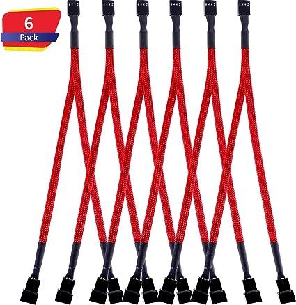 Tatuo 6 Packs Cable de Ventilador Divisor de Caja Convertidor de Ventilador 1 a 2 Cable de Ventilador Trenzado con Mangas en Forma de Y para Ordenadores (Rojo): Amazon.es: Electrónica