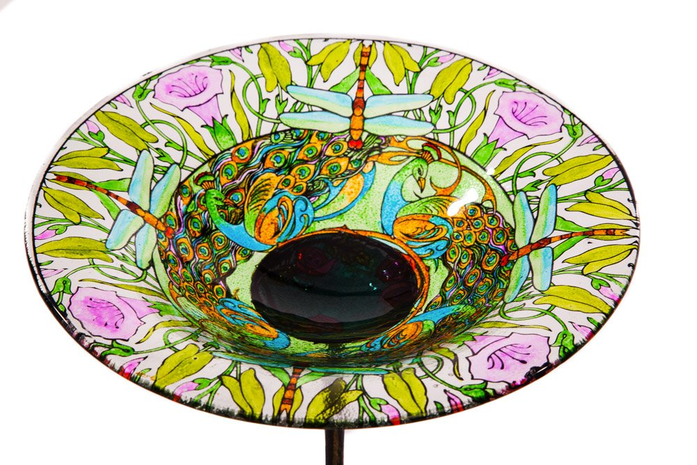"Evergreen Dragonfly Glass Bird Bath Bowl with Metal Stake - 10""L x 10"" W x 26.75"" H"