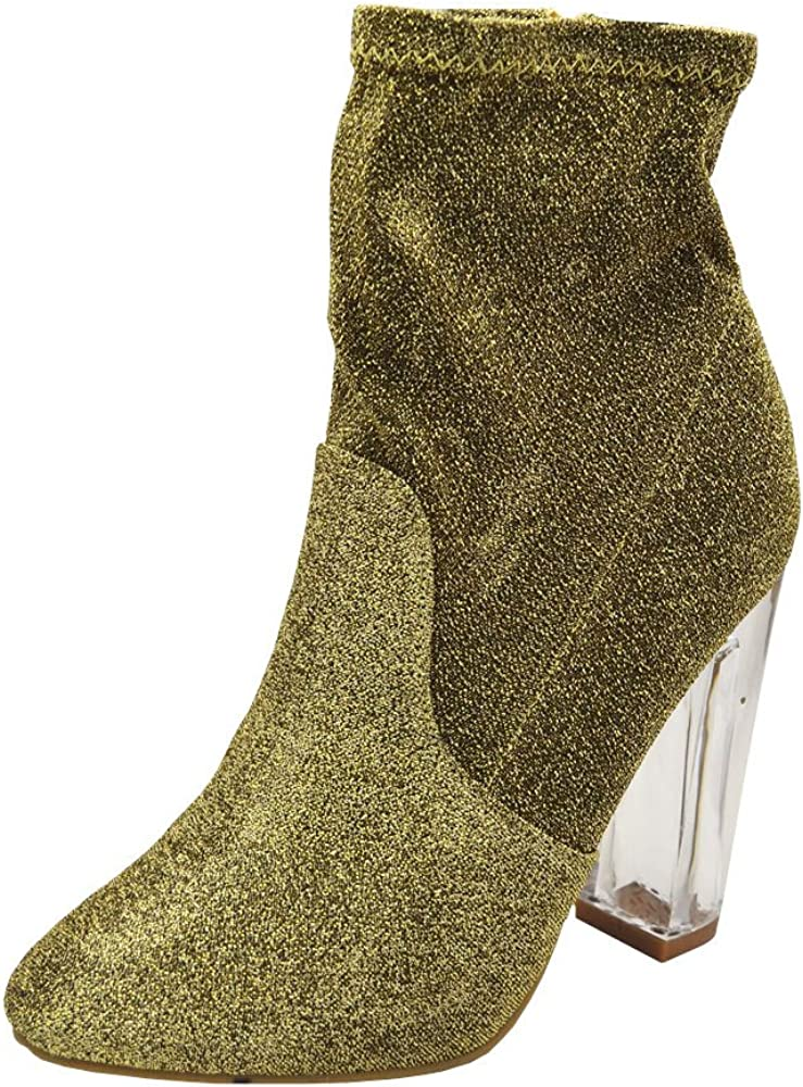 M US, Gold Sfs 7 B BAMBOO NightFall-01S Womens Foiled Metallic Chunky Clear Heeled Ankle Boots