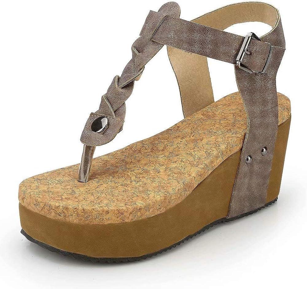 Sandales Compensées Femme Plateforme Cuir Bout Ouvert Bohême Romaines Espadrilles Chic Flip Flop Plage Legere Été Dames Chaussure Noir Beige Marron