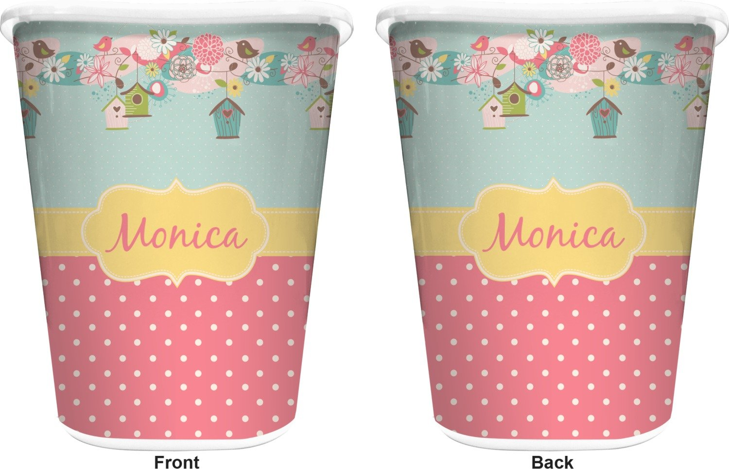 RNK Shops Easter Birdhouses Waste Basket - Double Sided (White) (Personalized) by RNK Shops (Image #2)