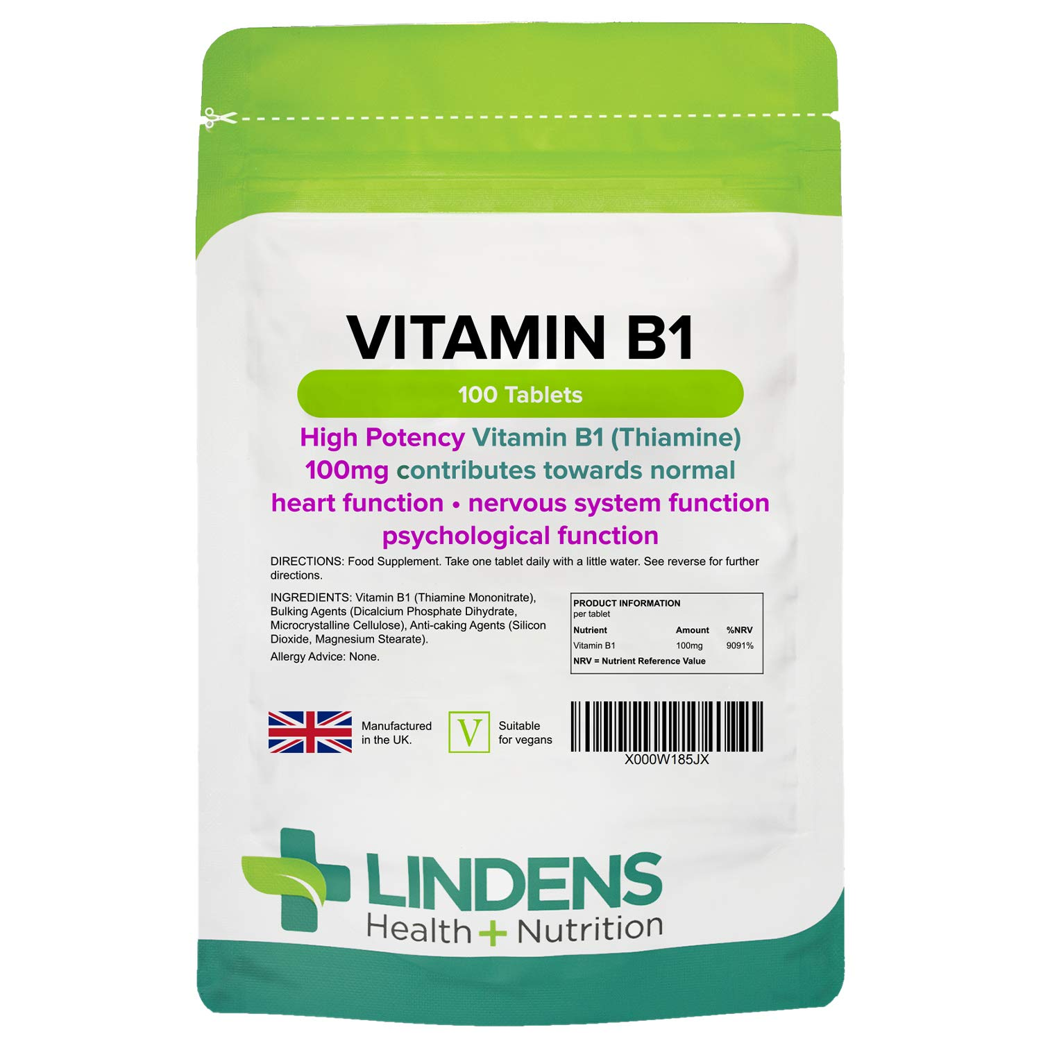 Lindens Vitamin B1 Thiamine Tablets for Heart, Immune and Psychological Function & Energy Release - 100 Tablets