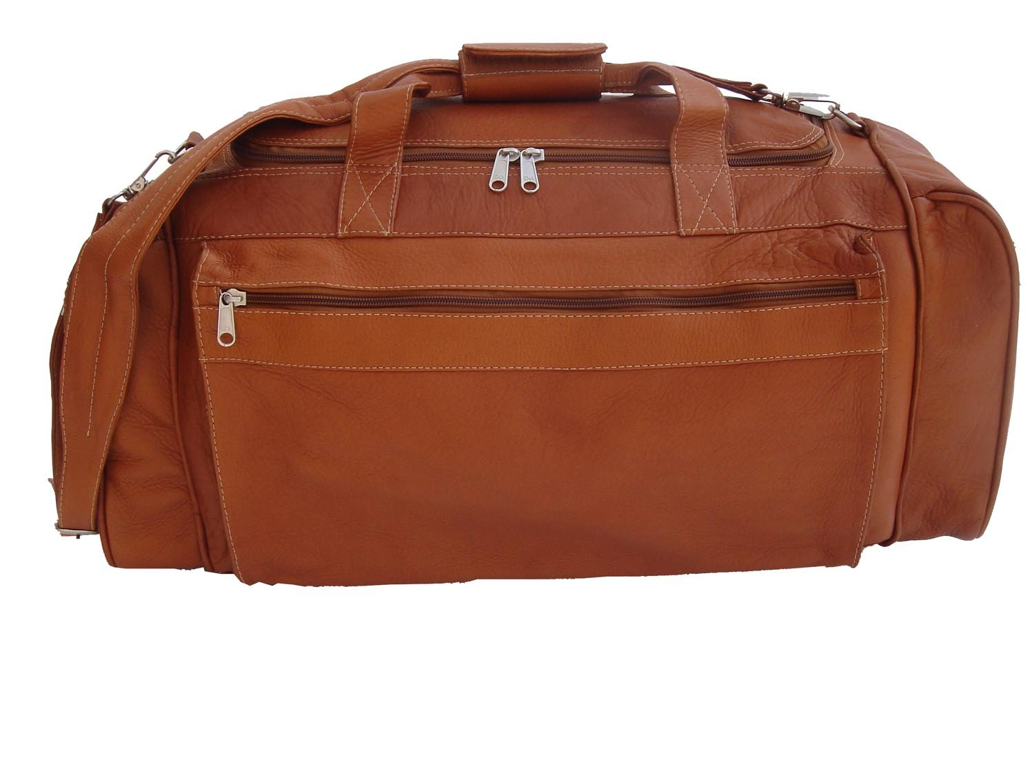 Piel Leather Large Duffel Bag in Saddle