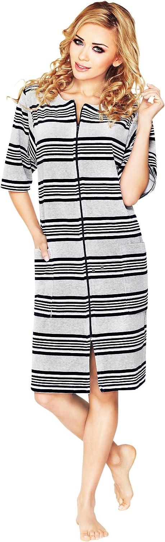 Wanmar Company Womens Short Sleeved Knee Length Lightweight Zip Up Dressing Gown Soft Housecoat Robe
