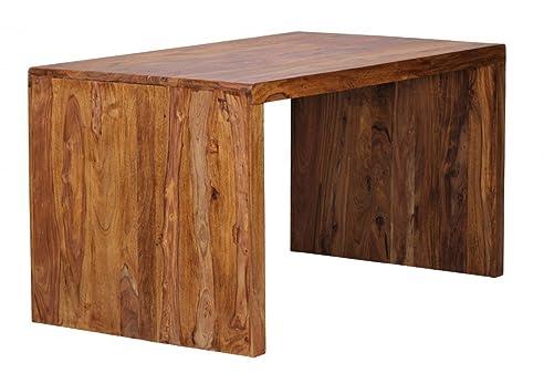 FineBuy Schreibtisch Massiv Holz Sheesham Computertisch 140 Cm Breit  Echtholz Design Ablage Büro Tisch