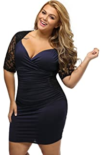 be7d66bb8c1 Women s V Neck Half Sleeve Ruched Lace Illusion Plus Size Night Out  Cocktail Sexy Dresses