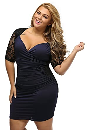 Women\'s V Neck Half Sleeve Ruched Lace Illusion Plus Size Night Out ...