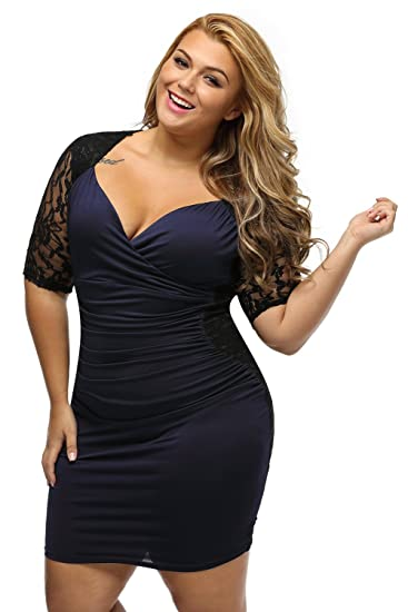 3fa880d13f5 Women's V Neck Half Sleeve Ruched Lace Illusion Plus Size Night Out  Cocktail Sexy Dresses