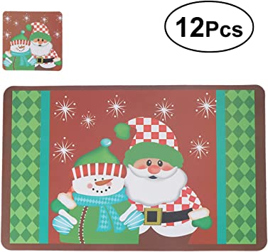 Amazon Com Oulii Christmas Placemats Cushions Cup Coasters Dining