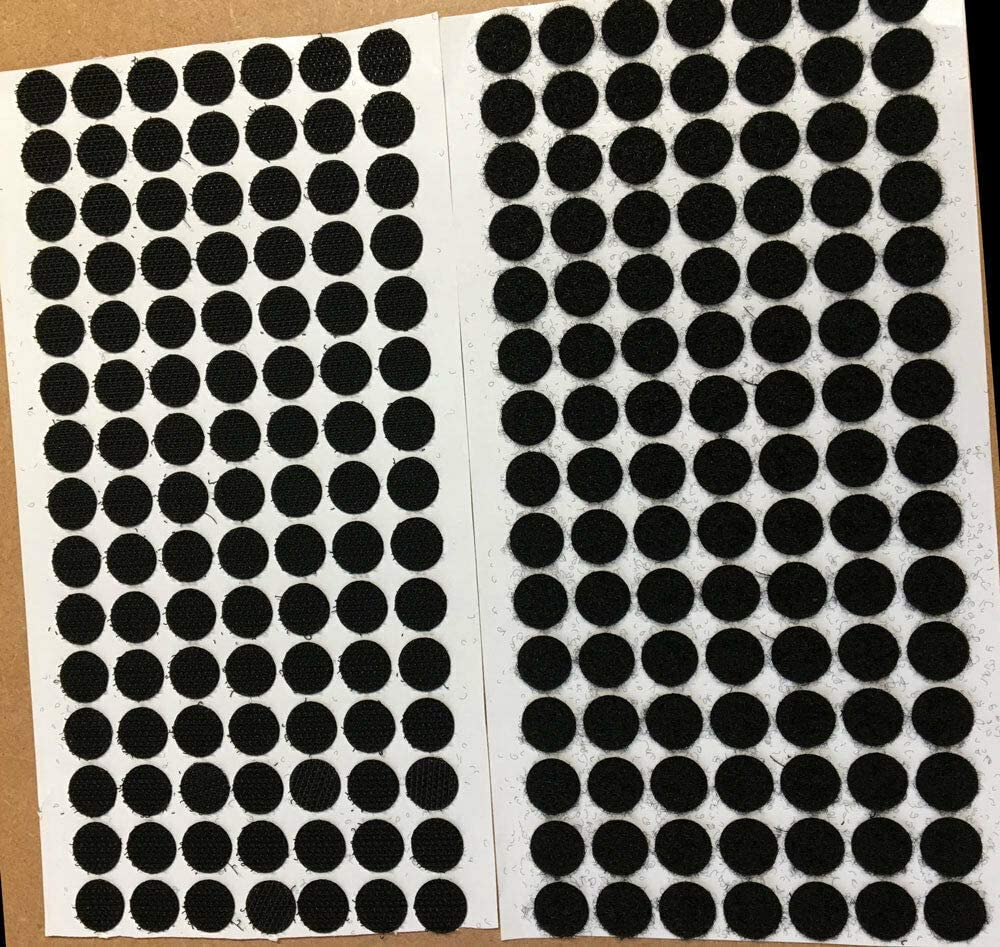 ALFATEX® BRAND SUPPLIED BY VELCRO® 13mm DOTS BLACK SELF ADHESIVE COINS HOOK LOOP