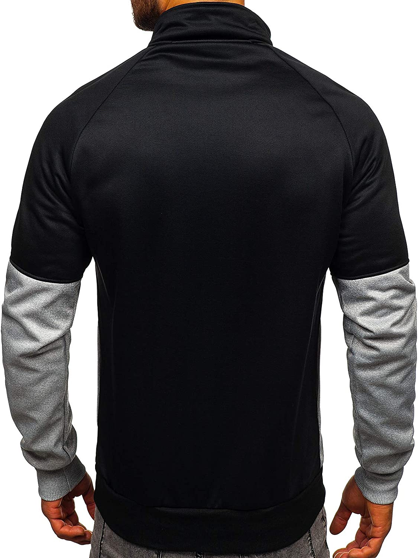 Senza Cappuccio Collo Alto da Uomo Mix 1A1 di Cotone Stile Sportivo con Zip BOLF Felpa