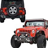 """GSI 07-16 Jeep Wrangler Rock Crawler Stubby Front Bumper with OE Fog Lights Hole and Winch Plate+Rear Bumper with 2""""Hitch Receiver-Textured Black Combo (Black)"""