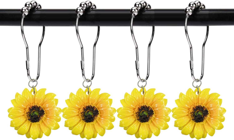 HozYi 12Pcs Yellow Sunflower Shower Curtain Rings Hooks Decorative Home Bathroom Stainless Steel Resin Pendants Bath Decor Accessories