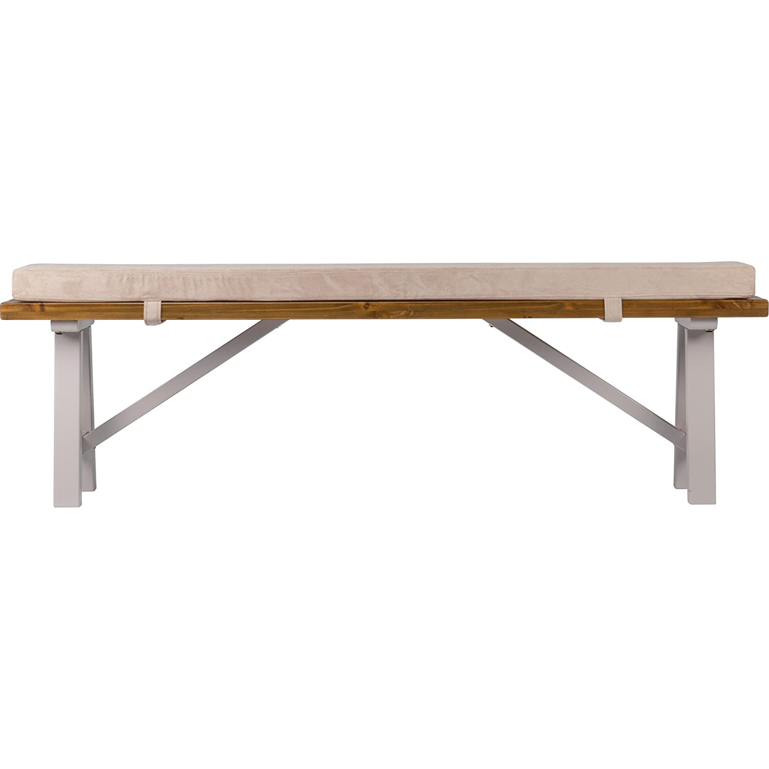 Solid wood top bench, built to last, complete with seat cushion for total comfort JTF Mega Discount Warehouse