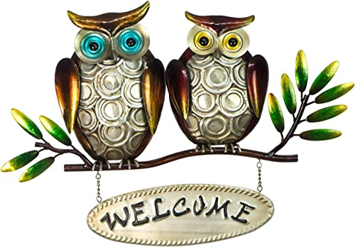 Owl Welcome Sign – 3D Metal Design – Hand-Painted – 18 x 12 – Rustic Home Decor – Indoor or Outdoor Use – Wall Hanging in Contemporary Farmhouse Style