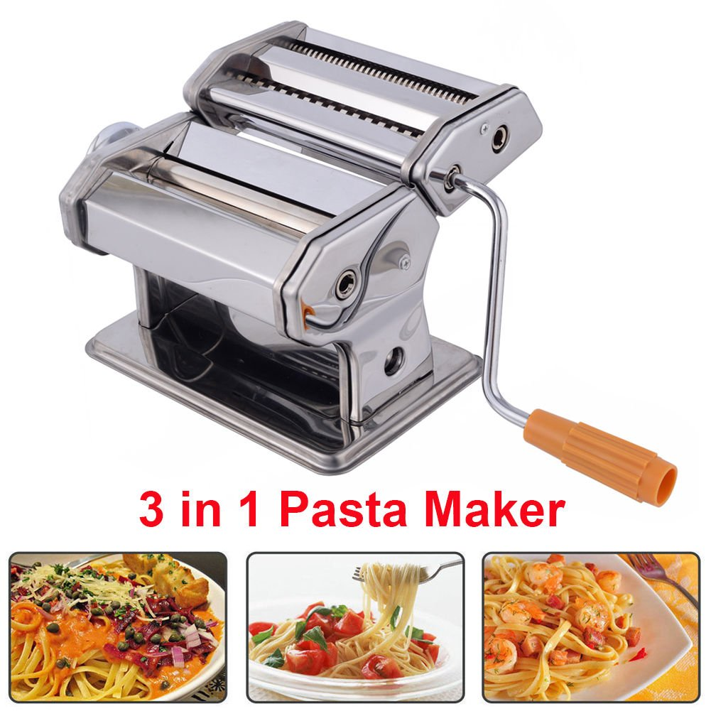Pasta Maker, Professional Grade Pasta Maker Machine Pastry Roller Spaghetti Tagliatelle Maker with Crank Handle and Clamp, Cutting Dies 0.5-3mm Greensen