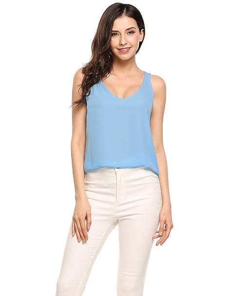 226cdb596 Zeagoo Women Chiffon Sleeveless Blouse Loose Solid Color V-Neck Tank Top at Amazon  Women's Clothing store:
