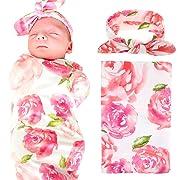 Elesa Miracle Baby Swaddle Blanket and Headband Value Se, EX-55, Pink Flower