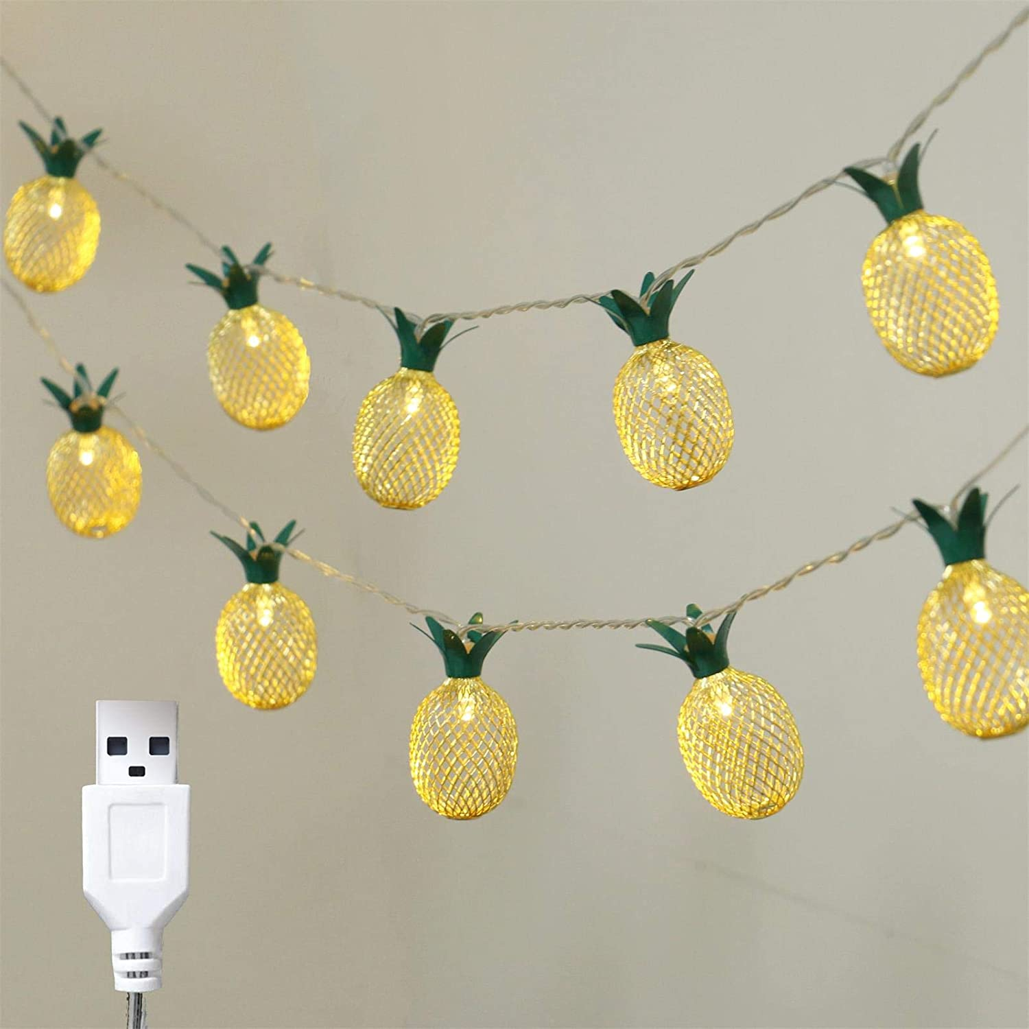 Details about  /2M Lovely Yellow Pineapple String Light Battery//EU Plug Powered LED Light