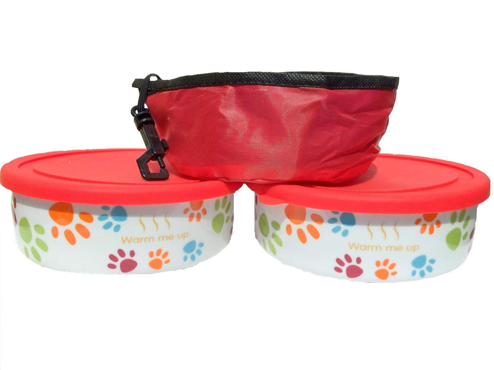 2 Dog/ Cat Bowls with Lid plus a Free Pet Travel Bowl. This Pet Dish Set is FDA approved porcelain material+ airtight storage lid plus collapsible Pet Travel Bowl for dog cat food or water by Quality Line (Image #3)