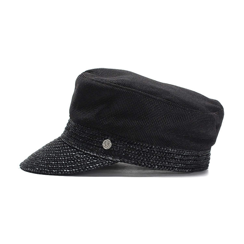 Newsboy Cap Women Summer Sun Hats Wheat Cotton Hats for Ladies, Black,57cm
