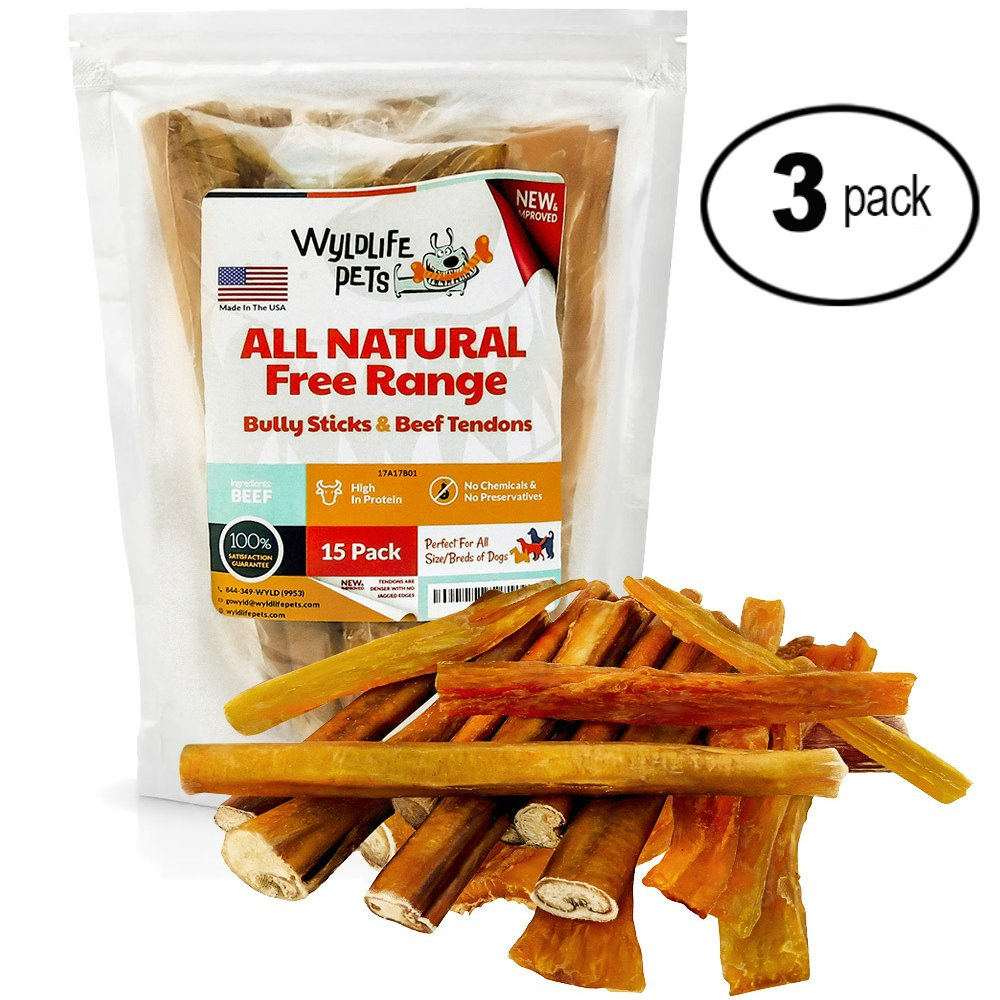 WyldLife Pets Bully Sticks & Beef Tendons [45-Pack] – Jerky & Canine Chews for Teeth Cleaning – Bulk Treats for Small Dogs & Large – Made in USA
