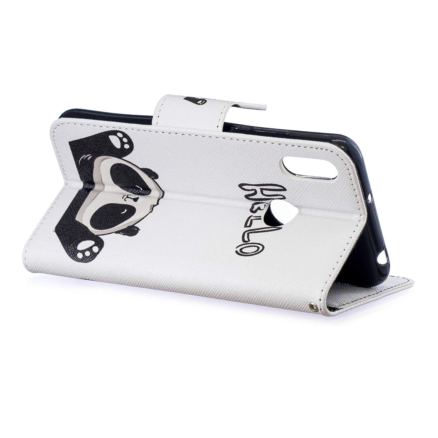 Card Slots Premium Flip Wallet Case with Panda Huawei Y6 2019 Case Leather Kickstand Magnetic Closure Notebook Cover Case for Huawei Y6 2019