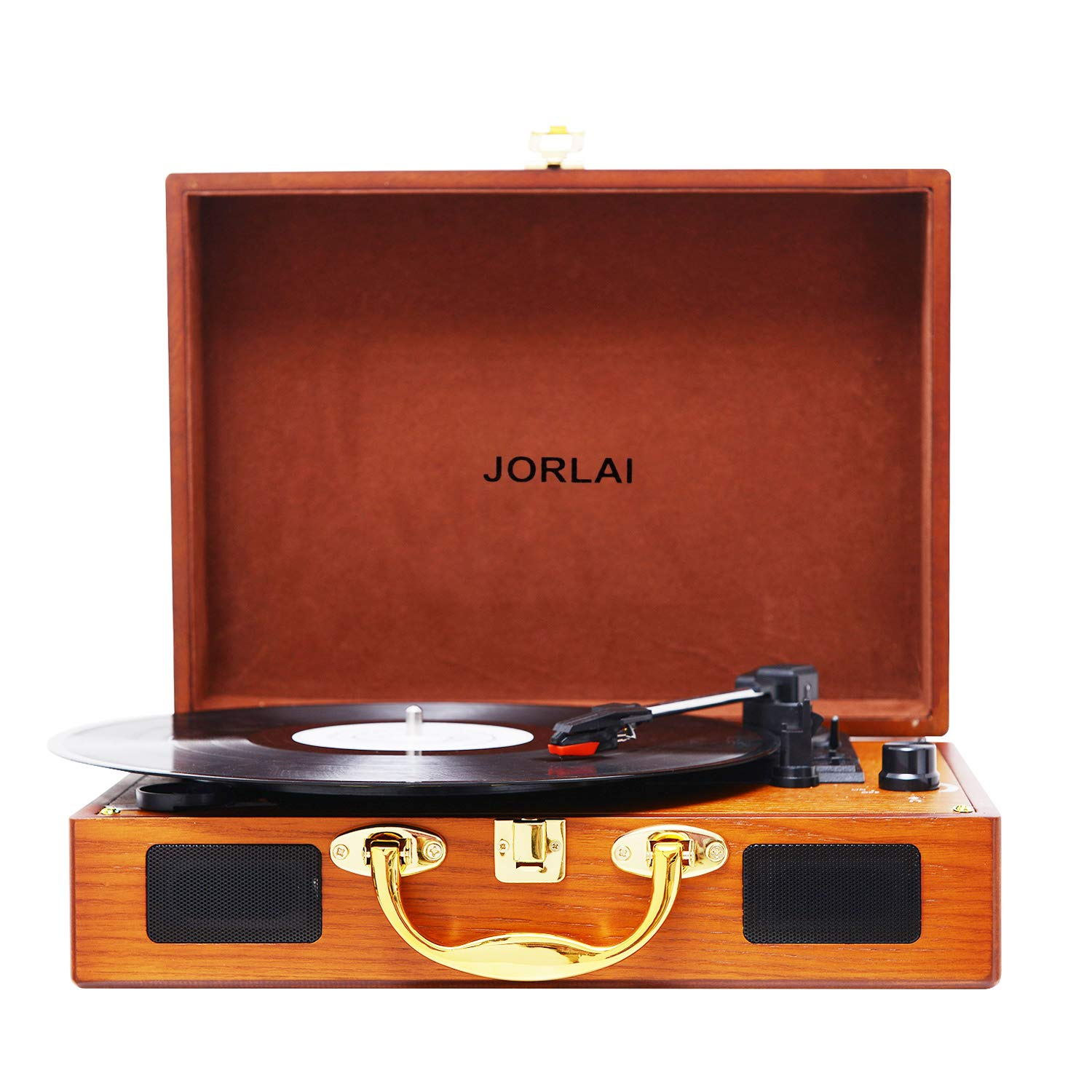 JORLAI Vinyl Record Player, 3 Speed Suitcase Turntable with Built-in Speakers, PC Recorder, Headphone Jack, RCA line Out - Wood