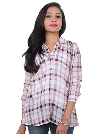03ac68d9ee6c eSTYLe Strawberry Cream Colour With Balck Checked Design Stylish Shirt For  Girls: Amazon.in: Clothing & Accessories