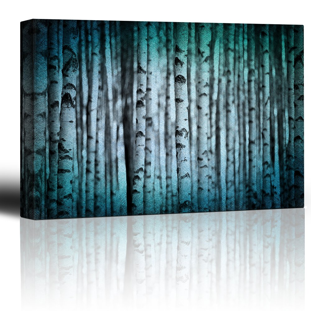 Canvas Print Wall Art Modern Home Art - Trunks of Birch Trees in Black and White |Giclee Printing Ready to Hang - 16