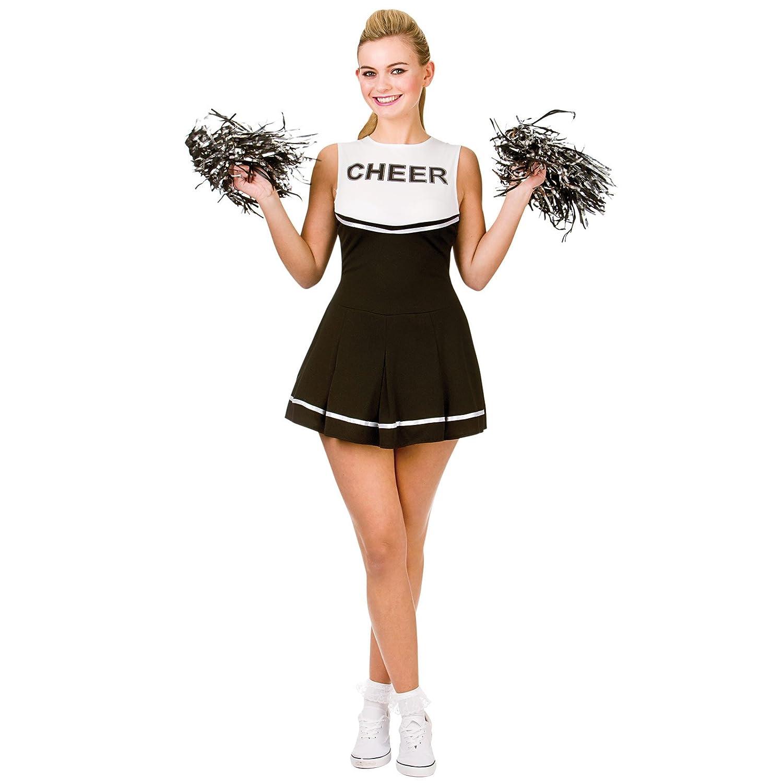 Cheerleader (Black & White) - Adult Costume Lady: XS (UK:6-8):  Amazon.co.uk: Clothing